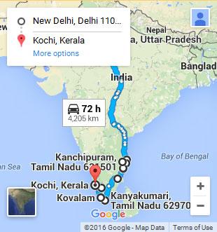 Carte De Linde Du Sud Cochin.Circuit Combine Du Nord Et Sud De L Inde